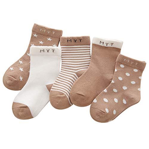 Kinder Baby Socken 7-10 Jahre Jungen Mädchen Täglich Basic Baumwolle Crew-Socken 5er Pack Casual Schule Atmungsaktiv Bequem Khaki