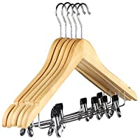 Natural wooden angled coat clothes hangers with bar, notches and clips for suits, tops, shirts, dress, trousers-Choose Quantity