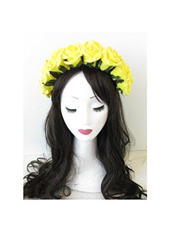 Grand jaune rose fleur bandeau d'été Festival Vintage fait main en mousse Big n27 * * * * * * * * exclusivement vendu par – Beauté * * * * * * * *