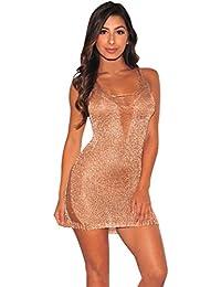 PAOLIAN Mujer Verano Sexy Ajustado Vestido Sólido Backless Cuello V Club  Heuco Perspectiva Cuello Colgante Redondo Paquete Hip… dea401aa7b9b