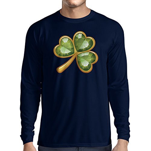 T-Shirt mit langen Ärmeln Irish shamrock St Patricks day clothing (Large Blau Mehrfarben)