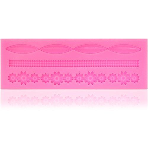 COM-FOUR Silikonform Bordüre mit verschiedenen Mustern für Marzipan und Fondant - Tortendeko selbst gemacht (01 Stück Bordüre 4) (01 Stück -...