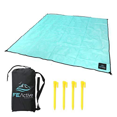 FE Active - Telo mare anti-sabbia extralarge con sacca di trasporto anti-sabbia, portatile coperta da spiaggia, tappeto da picnic compatto, per campeggio, viaggio, yoga | Disegnato in California, USA