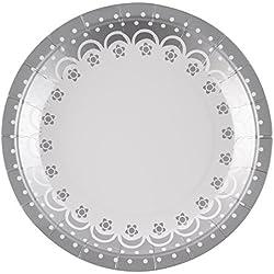 Neviti Chic Boutique-Plate-White Assiette Papier, Blanc, Taille unique