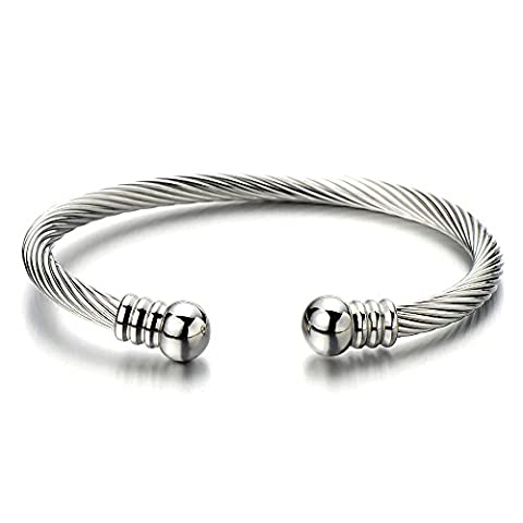 Unisex Elastic Adjustable Steel Twisted Cable Bangle Bracelet for Men Women Silver Color Polished