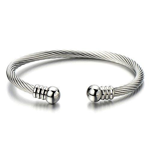 COOLSTEELANDBEYOND Elastische Verstellbare-Edelstahl Armband für Herren Damen Verdrehten Stahlkabel Armreif Farbe Silber Poliert