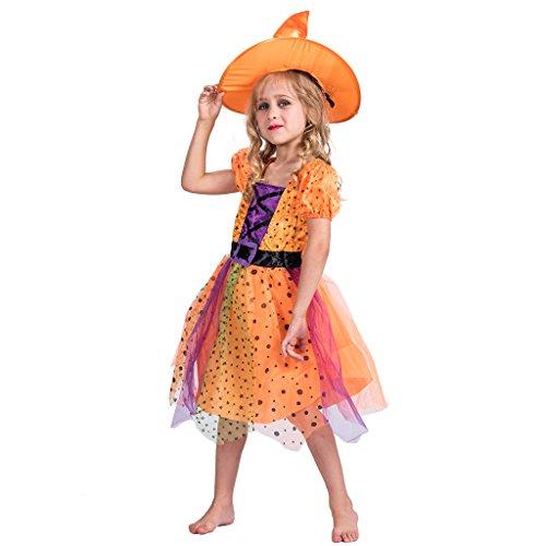 ancy Orange Hexe Kostüm Kleid (Die Gute Hexe Kostüme)