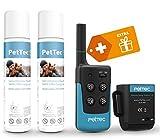 PetTec Erziehungshalsband für Hunde mit Fernbedienung für 200m Reichweite, Ferntrainer inkl. Halsband und 2 Sprays, sanfte Hilfe zur Erziehung mit Ton und Spray (Remote Spray Trainer 2.0)