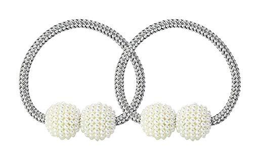 UTRO 2 Stücke Magnetische Vorhang Raffhalter Vorhang Clips Seil Rückwärtige Vorhang Halter Schnallen Vorhang Binder Gardinenhalter für Haus Dekoration (Silber-Grau 1)