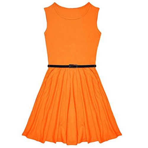 Einfarbiges Skater-Kleid für Partys, mit gratis Gürtel, Alter 7,8,9, 10,11,12,13Jahre, Neon-Orange, 33 cm (Für Tweens Neon-kleider)