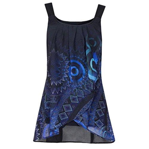OSYARD Damen Druckbluse mit Allover-Druck Mode Hemd ÄrmellosesO-Ausschnitt Sling Weste Tank Tops Bluse Casual Camisole(EU 46/XL, Blau)