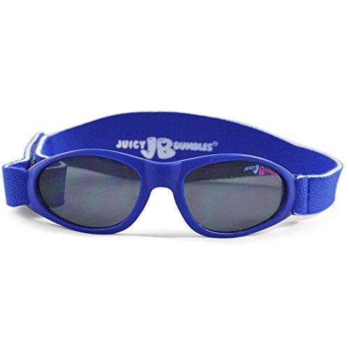 Juicy Bumbles Sonnenbrille Baby mit verstellbarem Neopren-Kopfband und Aufbewahrungsetui - 100% UV-Schutz - 3 bis 18 Monate - Blau