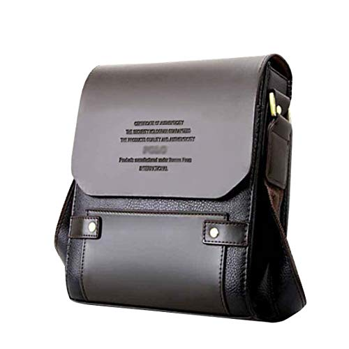 Mioy Vintage Ventiquattrore Uomo Borsa a tracolla in pelle Piccola Borsetta a spalla Eleganti Messenger Bag Mini Borsello (Marrone)