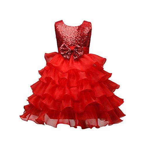 JERFER Prinzessin Kostüm Kinder Glanz Kleid Mädchen Weihnachten Verkleidung Karneval Party Halloween Fest Hochzeit Brautjungfer Tutu Prinzessin Pageant Kleid 4-8 T/Jahre alt (Rot, 4T)