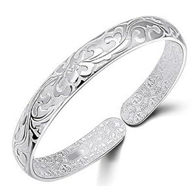 JMT Hermosa flor diseño moda joyería de la plata esterlina 925 abierto brazalete plateado para las mujeres de JMT