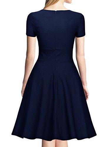 Miusol Damen Vintage 50er Kleid Knielang Ballkleid Rockabilly Cocktail Abendkleid Dunkelblau Gr.XXL -