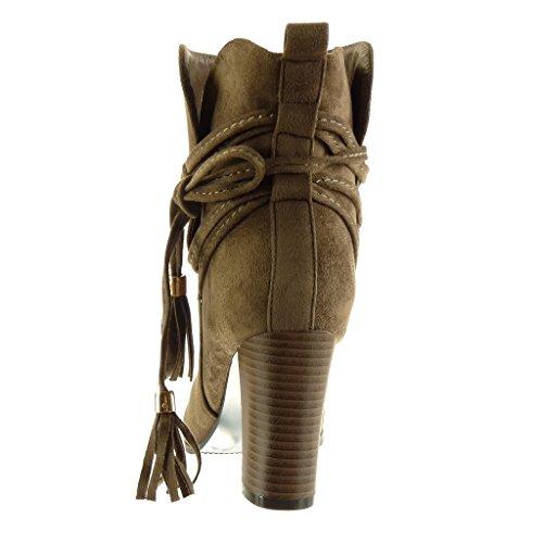 Angkorly - Scarpe Da Donna Stivaletti - Stivali Da Equitazione - Kavalier - Multi-briglia - Tacco Alto Con Frange Tacco 9 Cm Kaki
