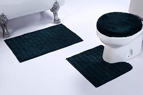 3-teiliges Badezimmerteppich-Set mit Ziegel-Muster, Rutschfest, U-förmig, Matte und WC-Deckelbezug 3pc Bath Set Hunter Green - Hunter Green-zubehör