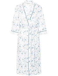 4023df2c16 Slenderella HC7139 Women s Blue Floral Cotton Dressing Gown Robe Housecoat