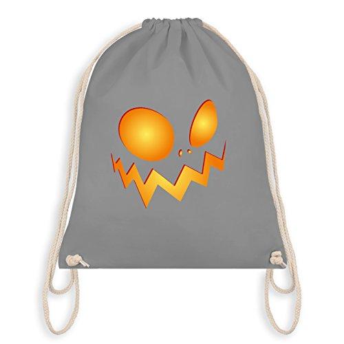 Halloween - Kürbisgesicht groß Pumpkin - Turnbeutel I Gym Bag Hellgrau