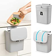 Yasee Choice 2.4 Gal Hanging Trash Can for Kitchen Cabinet Door with Lid, Small Under Sink Garbage Can for Bat