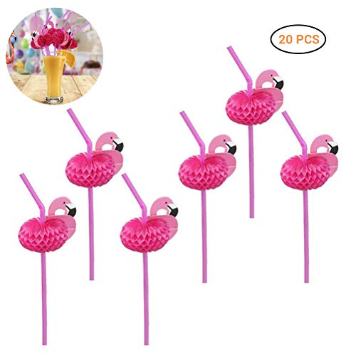 Hihey 3D Flamingo Cocktail Strohhalme Kunststoff Bar Hawaii Party DIY Deko - Rosa Papier,für Hawaiian Luau Sommer Geburtstag Party Kuchen Essen Dekoration Supplies