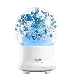 SinoFish Aroma Diffuser, 100ml Essential Oil Diffuser, Ultrasonic Aroma Humidifier, Aromatherapy Diffuser, Auto off Air Purifiers, 7 Color Changing LED Lights, Immortal Flower (Deep Blue)