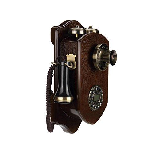 Teléfono colgante de pared de madera maciza rotativa Dial retro antiguo de...