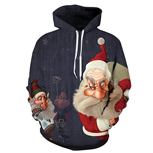 Weihnachten Bekleidung Herren Weihnachtspullover Kapuzenpullover Sweatshirt Weihnachten Herbst Winter Casual Weihnachten Sweatshirt Hoodies Printing Long Sleeve Hoodies Sweatshirt (Marine, XXL/XXXL)