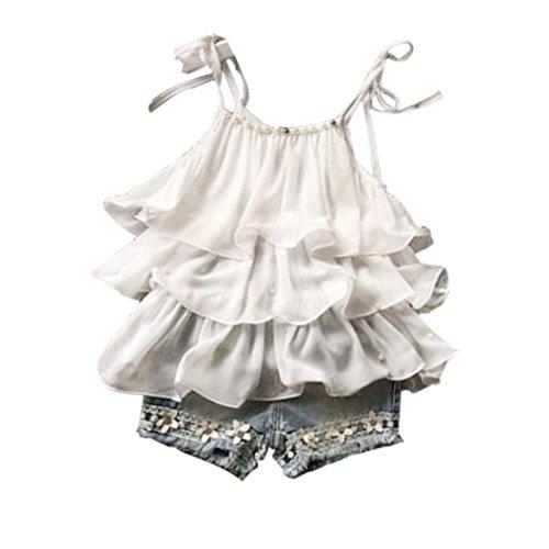 Sannysis Kinder Mädchen Chiffon Perle Weste Shirt + Jean Shorts Kleider Set (140, Weiß) (Baby-jeans-shorts)