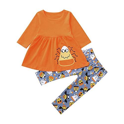 Asiatische Kostüm Baby - Halloween Kostüm Mädchen Langarmshirt und Streifen Hosen Set Kleinkind Baby Karikatur Halloween Kürbis Kostüm Cosplay Outfits Set Kinderparty Schlafanzug Party