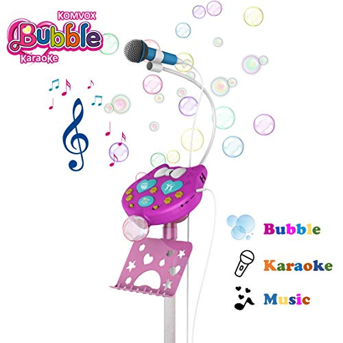 Karaoke Microfono Infantil Altavoz con Burbujas para Niños,Regalos para Niñas de 8...