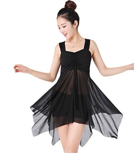 COCO clothing Gaze Einfarbige Asymmetrischer Damen Tankini Set Badeanzug Damen Zweiteilig Strandmode Schwimmanzug Mit Röckchen Schwarz