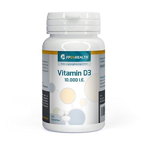 FP24 Health Vitamin D3 Depot – 10000 I.E. – 365 Tabletten – Hochdosiert – Made in Germany