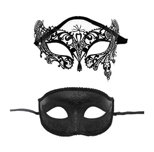 Yongbest Masken Venezianische,2 Stück Venezianische Maskerade Spitze Augenmaske für Männer Frauen Chirismas Halloween-Partei-Maskerade-Ball-Kostüm-Schwarzes (Kostüm Für Zwei Mann Freunde)
