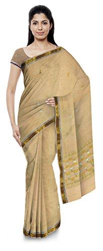 Jenab Kota Sarees Women's Kota Doria Handloom Cotton Silk Saree With Blouse Piece (Beige)