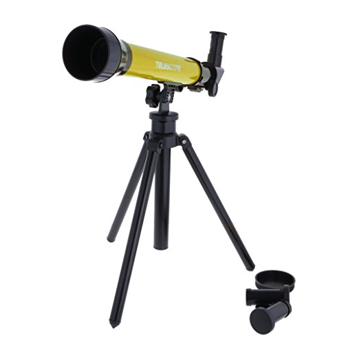 MagiDeal Yellow Astronomical Telescope w/ Tripod Play Set Kids Students Educational Toy Creative Gifts