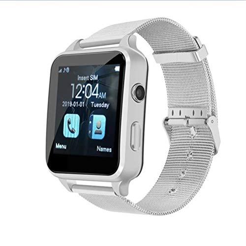 ZLOPV Fitness Armband Smartwatch 2g SIM Herrenuhren mit Bluetooth Smart wasserdicht Uhr Stunden reloj Smartwatch Hombre ak ll saat, Silber Iphone 2g Lcd