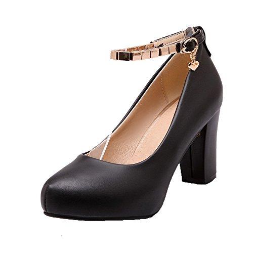 AgooLar Femme Boucle Rond à Talon Haut PU Cuir Mosaïque Chaussures Légeres Noir