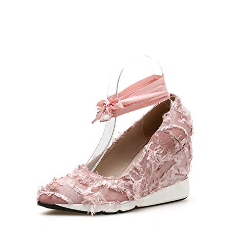 YAN Frauen Wedge Schuhe 2019 Pointed High Heels Ankle Strap Toe Pumps Plattform Schuhe Party Evening Black Pink,Pink,35 Pink Toe Pumps