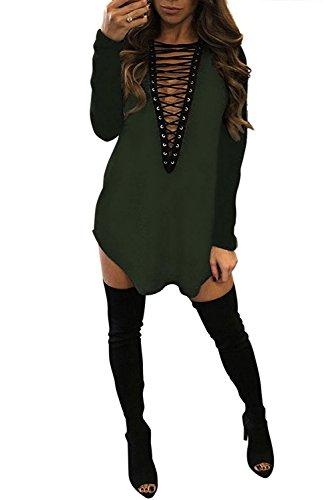 Yidarton Damen Minikleid Lace-up Lange Ärmel Tiefe V-Ausschnitt Mini Hemdkleid Tops Bluse (Large, (Kleid Grün Sexy)