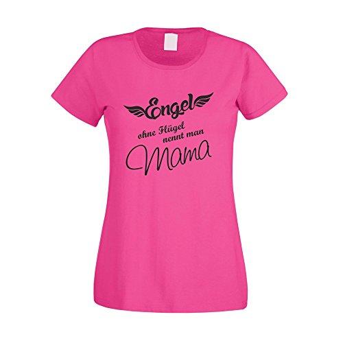 Damen T-Shirt - Engel ohne Flügel nennt man Mama - von SHIRT DEPARTMENT fuchsia-schwarz