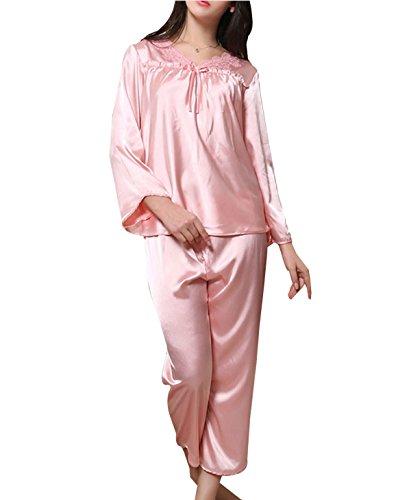 Weibliche Anzüge Mit Langen Ärmeln Seidenpyjamas Lässig Und Bequem Atmungsaktiv Pink