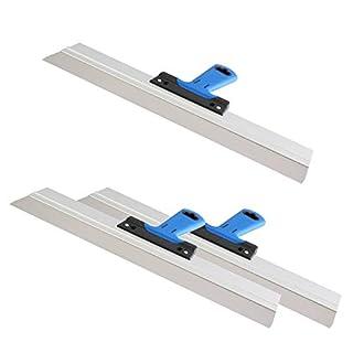3er Set DEWEPRO® Edelstahl Fassadenspachtel - Dekorspachtel - Flächenspachtel - Flächenrakel mit Aluhalter und 2-Komponenten Softgriff- Größe: 500x50mm