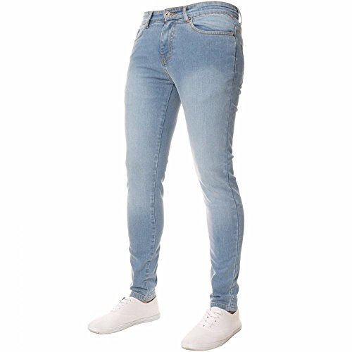 Enzo Mens Designer Stretch Super Skinny-Jeans Jeans Leichte Stonewashed Blau W32- L34