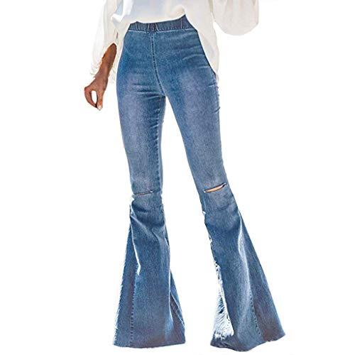 Wawer, modisch, Frauen, lässig, elastisch, mittellang, lang, Denim, Bell Jeans, elegant, Slim, Party, Club, Boot, Chic, im Freien, robuste Hose, große Größe m blau -