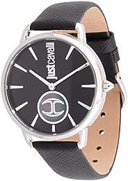 ساعة مع لوجو للنساء من جاست كافالي مع مينا باللون الاسود وسوار جلدي وعرض انالوج - طراز JC1L117L0015