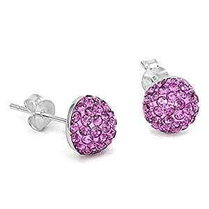 Shamballa Ball Sterling Silver Half Crystal Fuscia Earrings