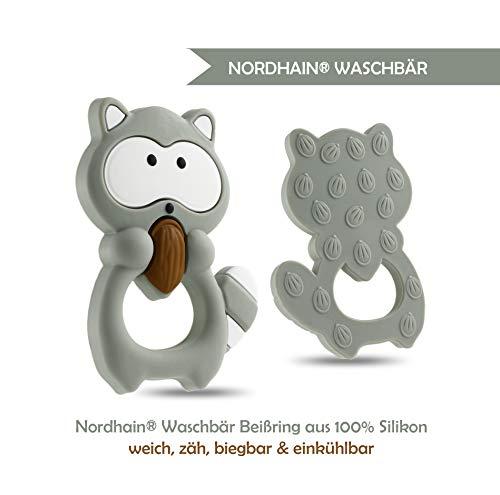 Nordhain Waschbär Beißring Grau für Babys aus hochwertigem Silikon - unterstützender Spielkamerad & Freund deines Babys in zahnender Zeit