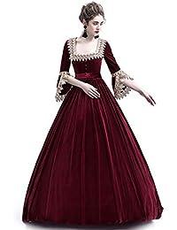0852b37ef4b0 Liyukee Abito Lungo Medievale con Colletto Quadrato Abito Vintage in  Velluto da Donna teatrale Abito in